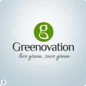 g leaf disc light grey blue background logo design