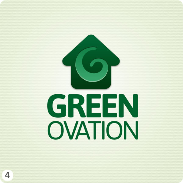 Green And White Swirl Eye Logo Energy efficiency company logo