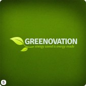 green gradient- ackground light green lettering leaf side logo design