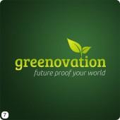 dark green gradient background light green lettering leaf top logo design