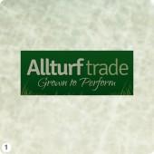 turf producer logo design dark green panel light grey lettering grass blades