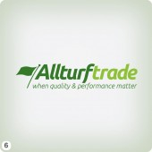 clean minimal turf company logo design flag flowing pale green background darker letters