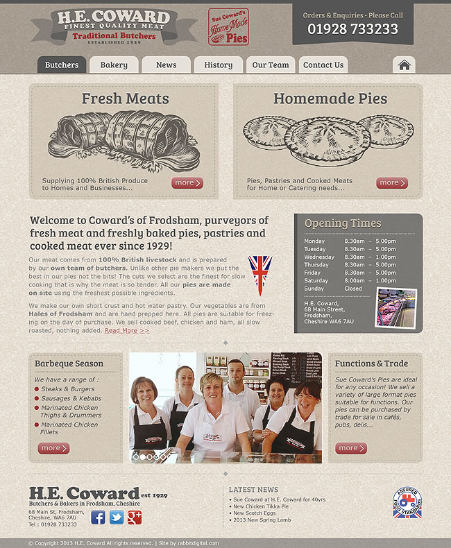 Cowards Butchers home page final design