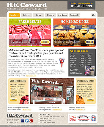 First draft web design for Cowards Butchers shop