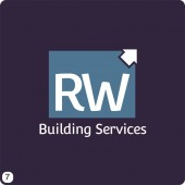 building services block logo design purple grey blue
