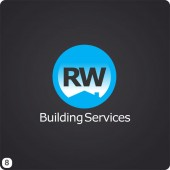 circular building services logo design slate grey sky blue