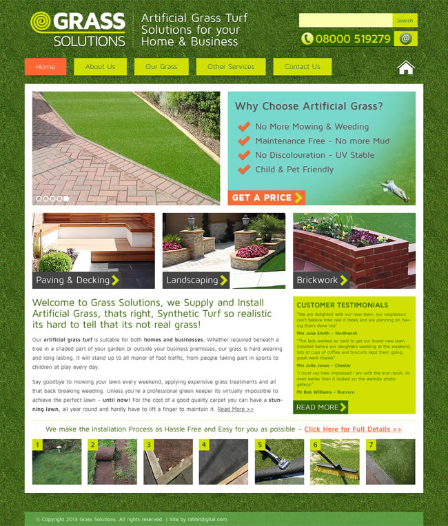 Artificial Grass Company Website Design