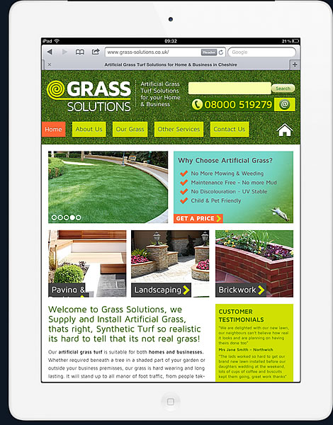 grass solutions website ipad viewport