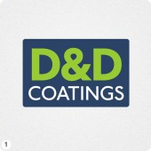 d&d coatings simple logo design green white lettering blue block background