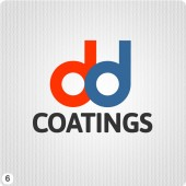 d&d paint coatings company logo design orange blue black fonts