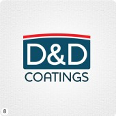 simple paint coatings company logo design red dark blue