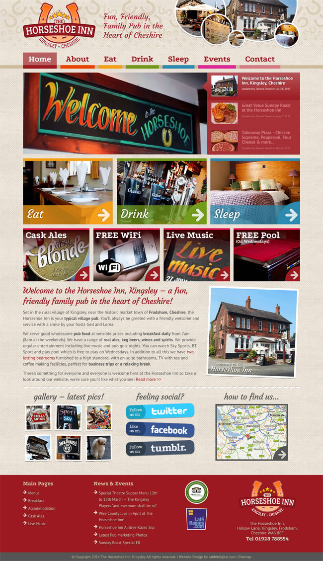 pub website design restaurant bar homepage