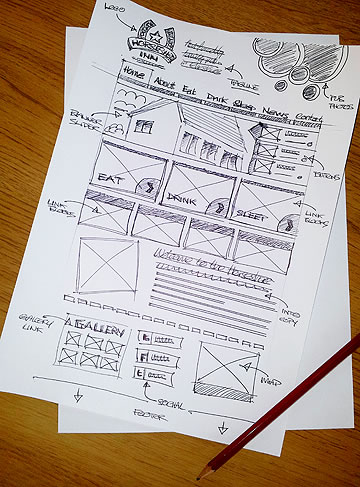 pub website design sketched layout rough