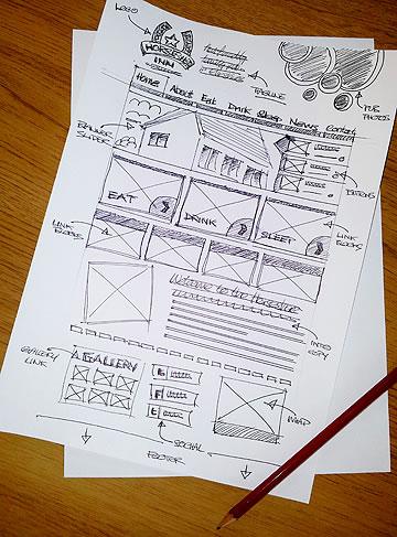 pub website design sketched layout rough