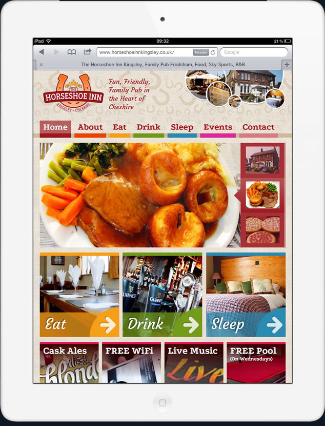 pub website ipad compatible horseshoe inn