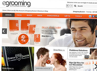 male grooming products ecommerce website design