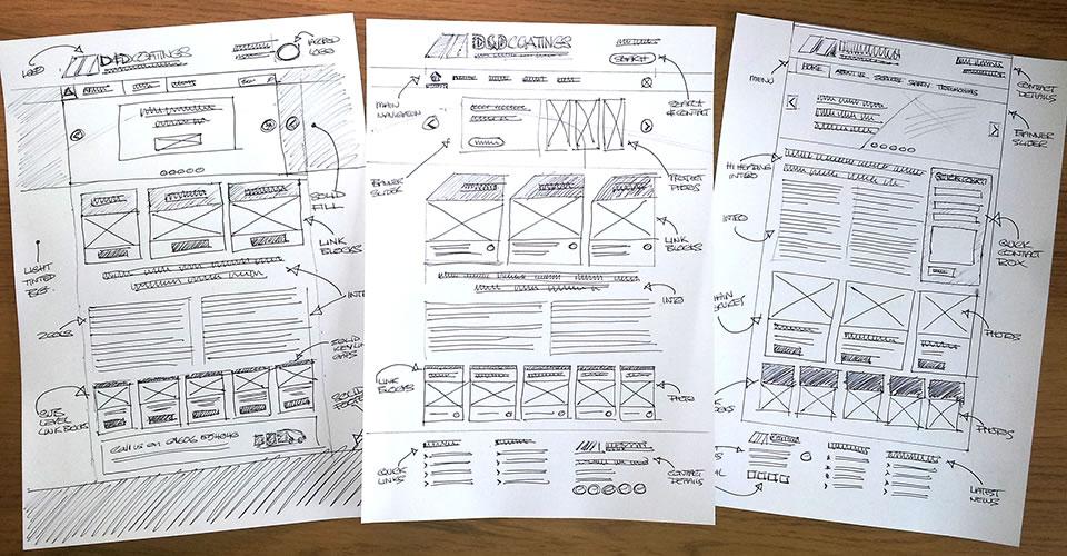 website design sketches