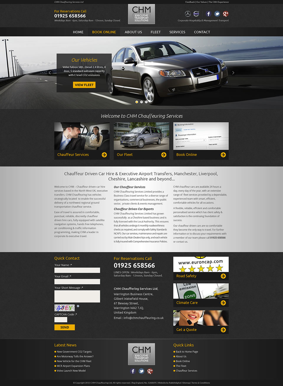 approved chauffeur company website design