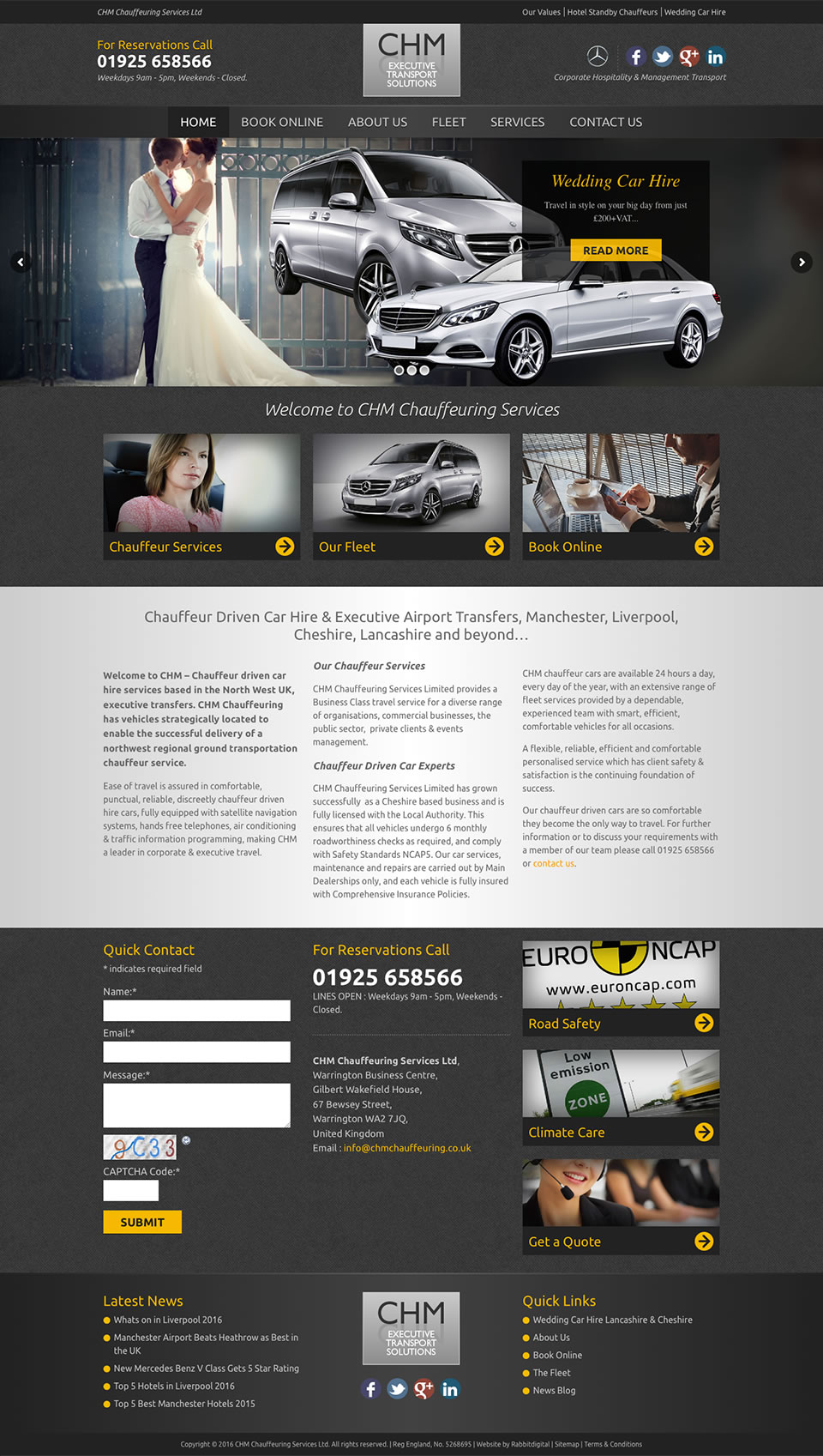 chm chauffeuring services website design