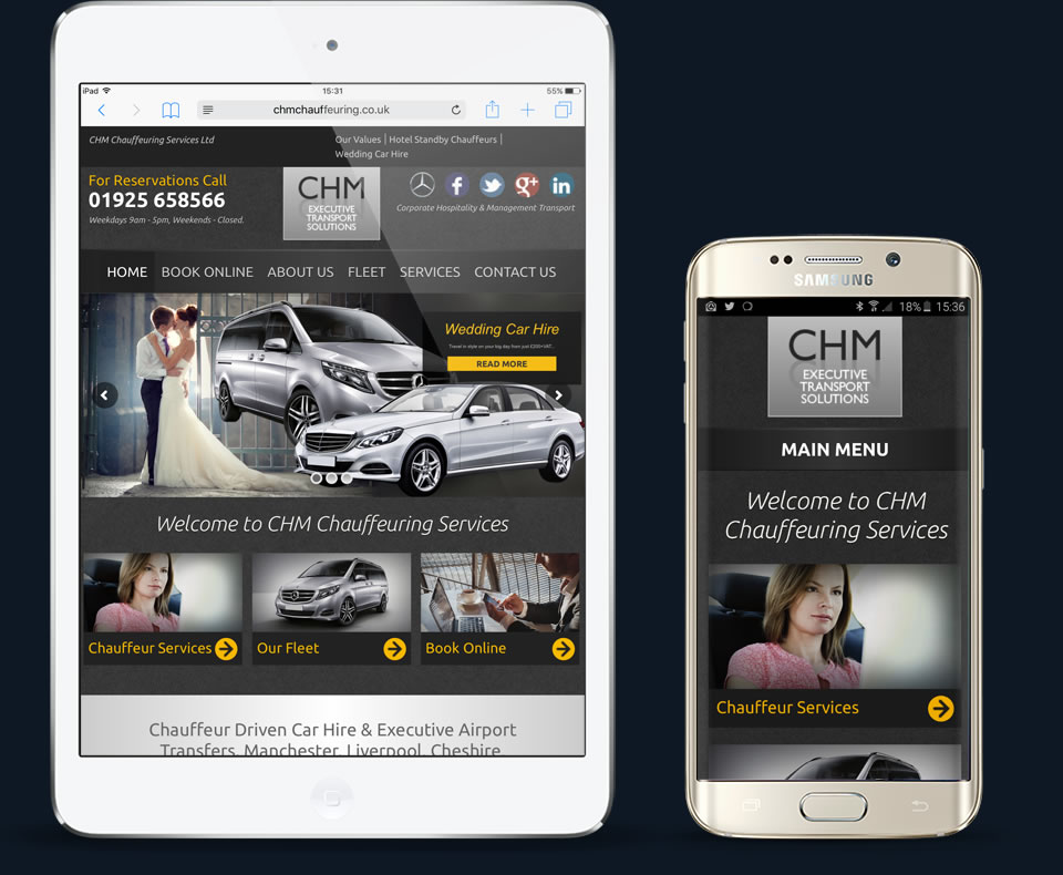 chm chauffeuring services website responsive views