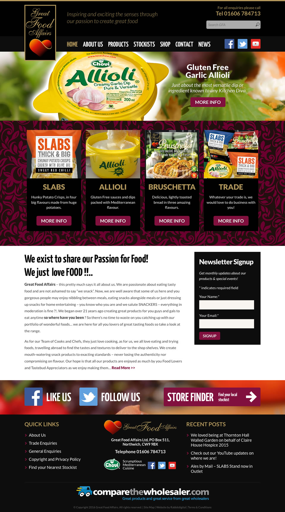 great food affairs finished website design