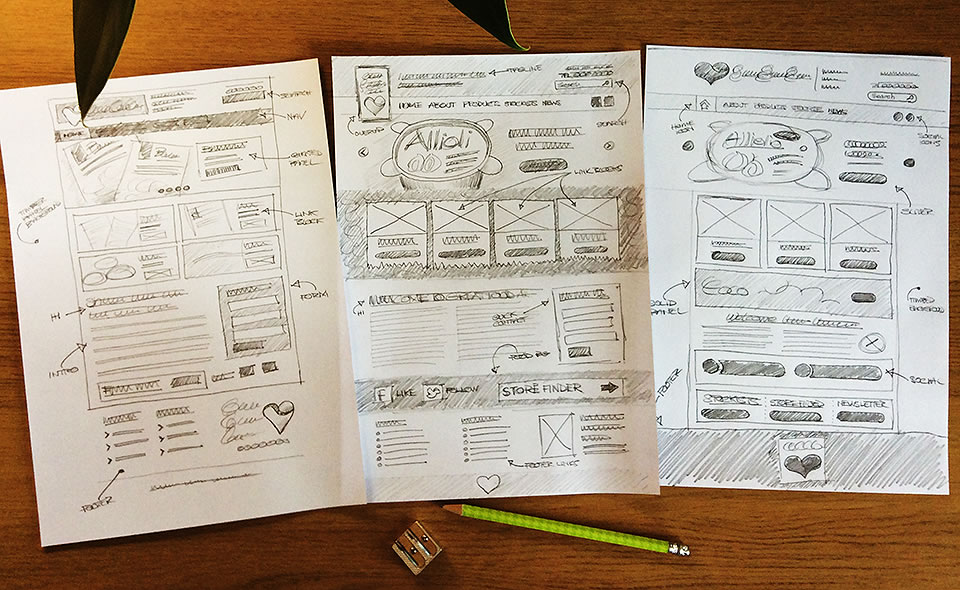 website design sketches food products company